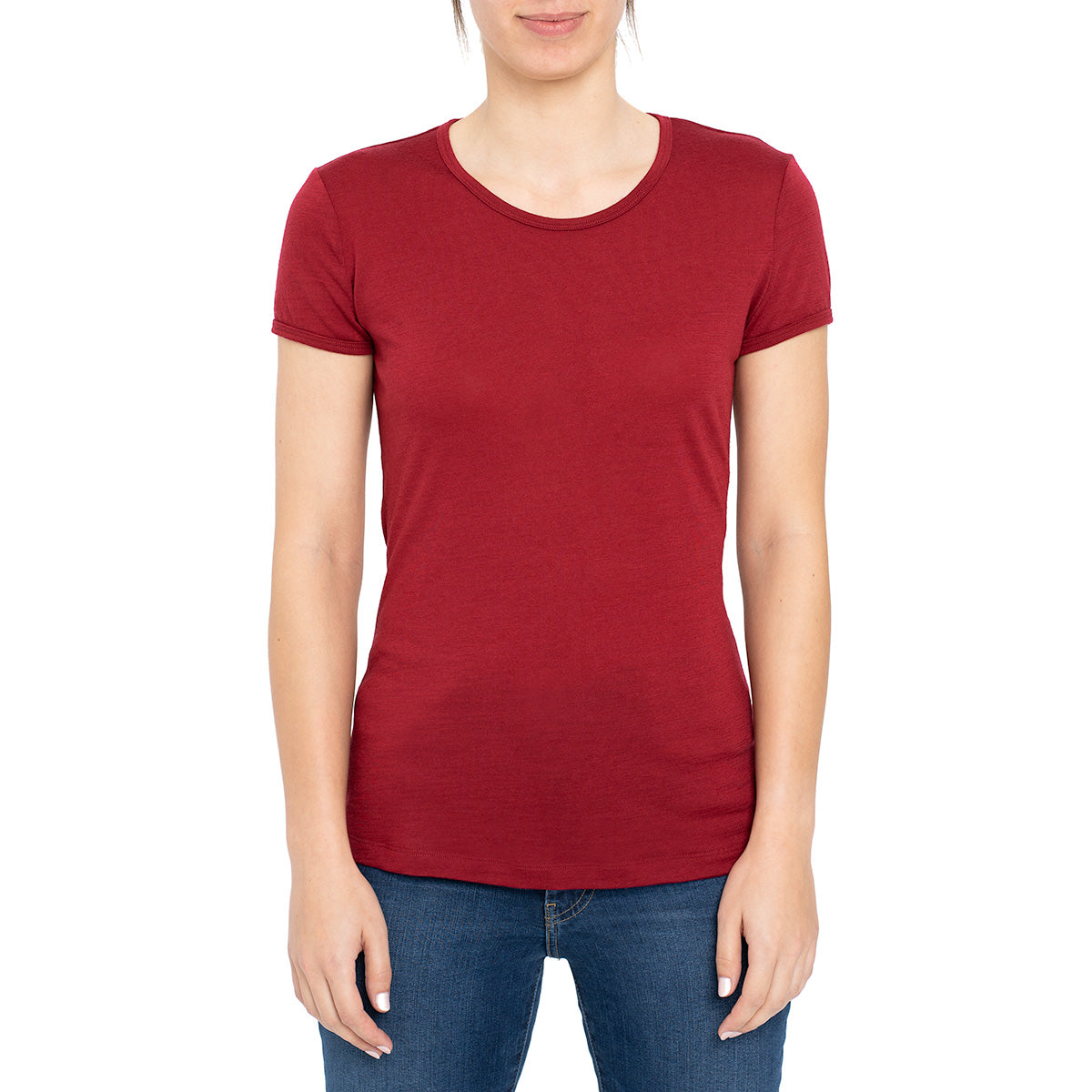 menique Women's Merino 160 Short Sleeve Crew Royal Cherry Color