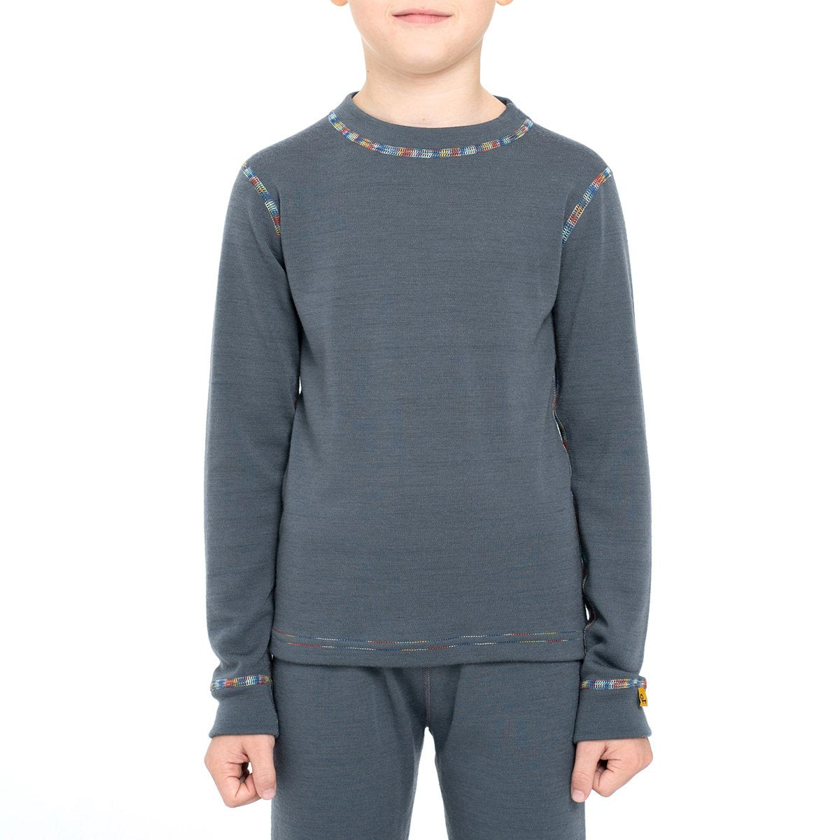 menique Kids' Merino 250 Long Sleeve Crew Perfect Grey Color