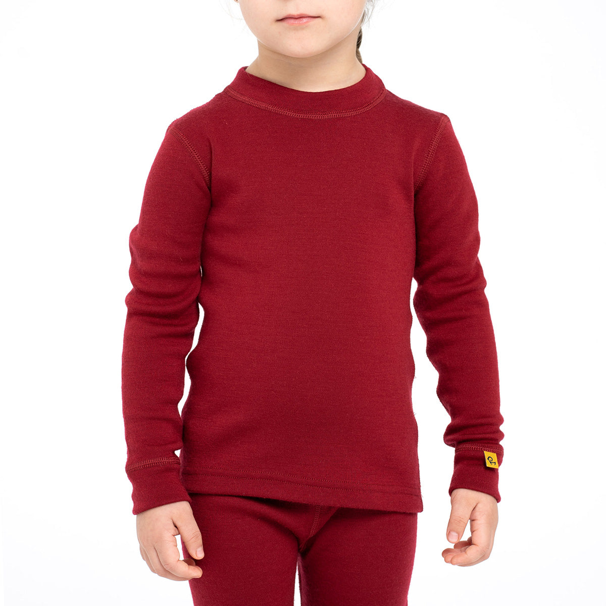menique Kids' Merino 250 Long Sleeve Crew Royal Cherry Color