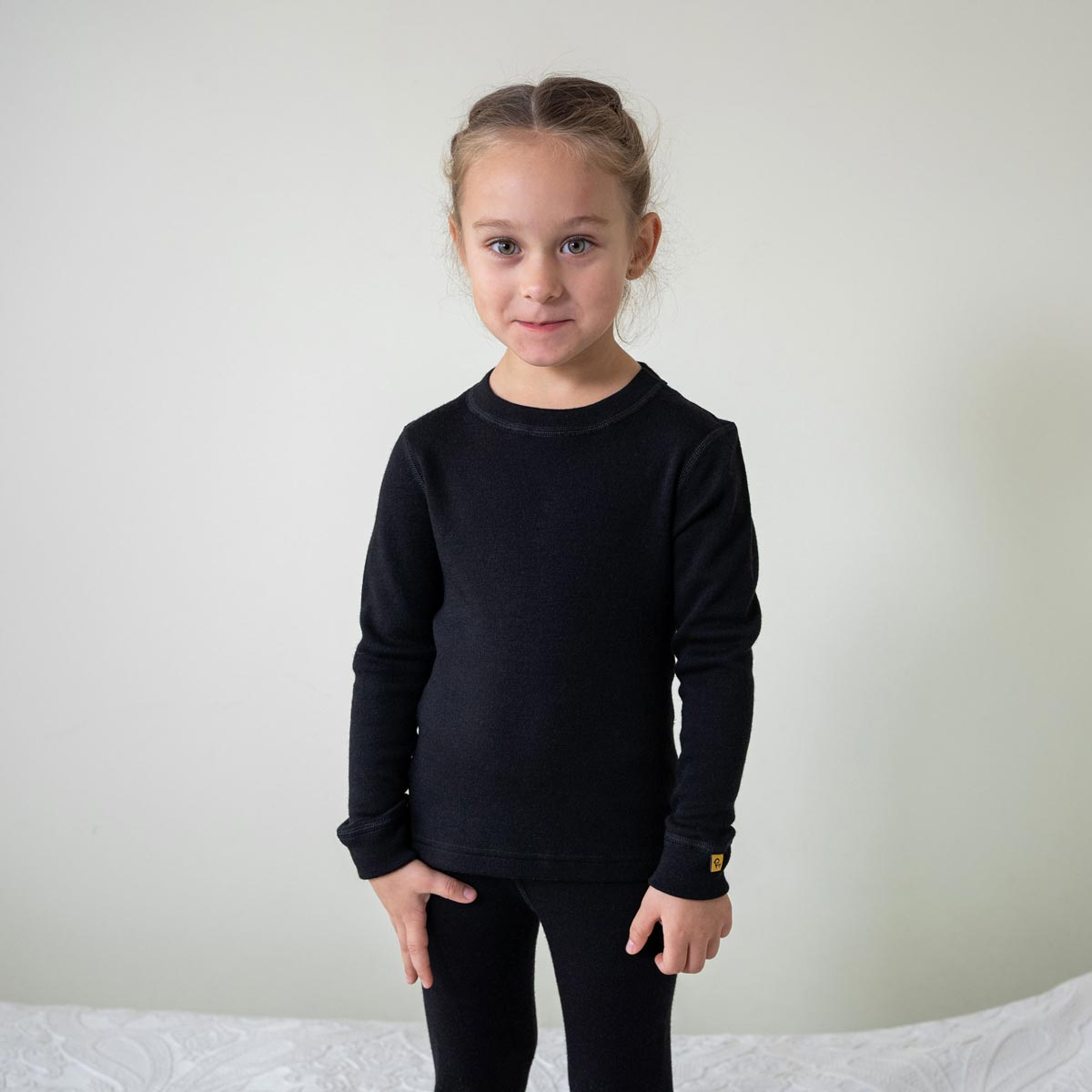 Kids' Long Sleeve Crew 250gsm Merino Wool Black