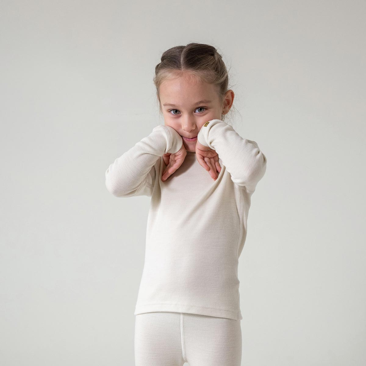 Kids' Long Sleeve Crew 250gsm Merino Wool Natural