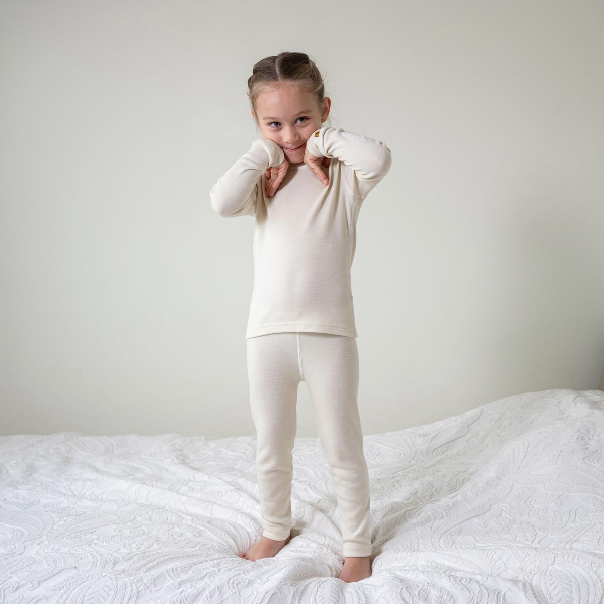 Kids' Long Sleeve Set 250gsm Merino Wool Natural