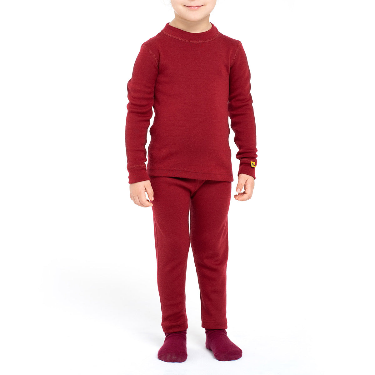 Kids' Merino 250 Long Sleeve Girl Set Royal Cherry front