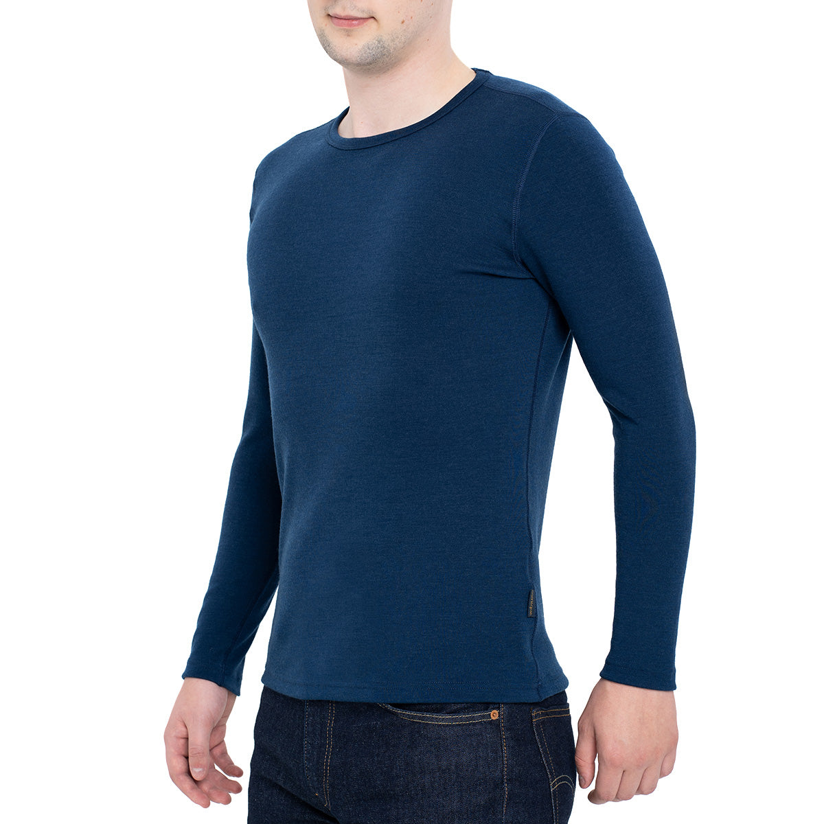 menique Men's Merino 250 Long Sleeve Crew Dark Blue Color