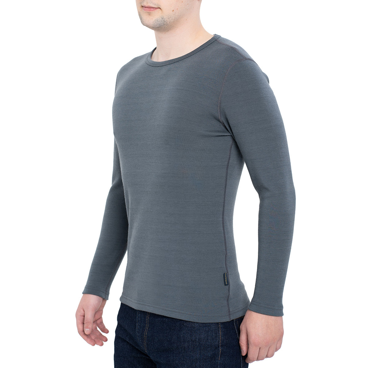 menique Men's Merino 250 Long Sleeve Crew Perfect Grey Color