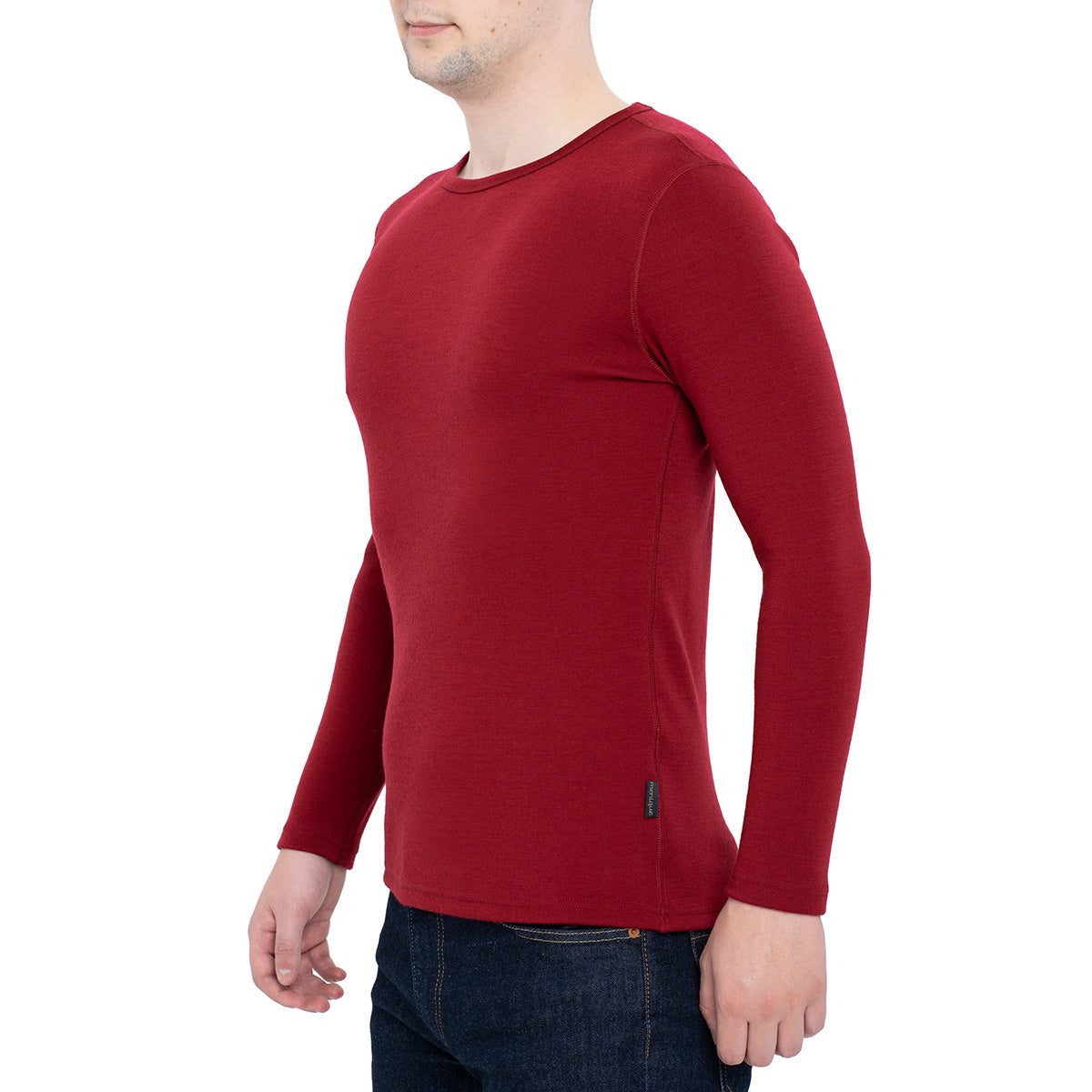 menique Men's Merino 250 Long Sleeve Crew Royal Cherry Color