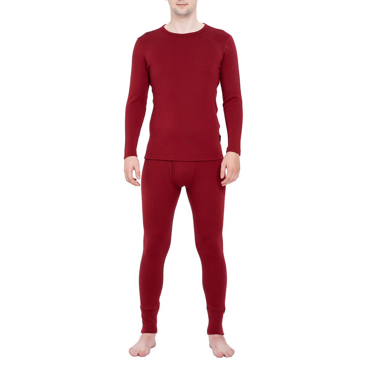 Men's Long Sleeve Set 250gsm Merino Wool Royal Cherry