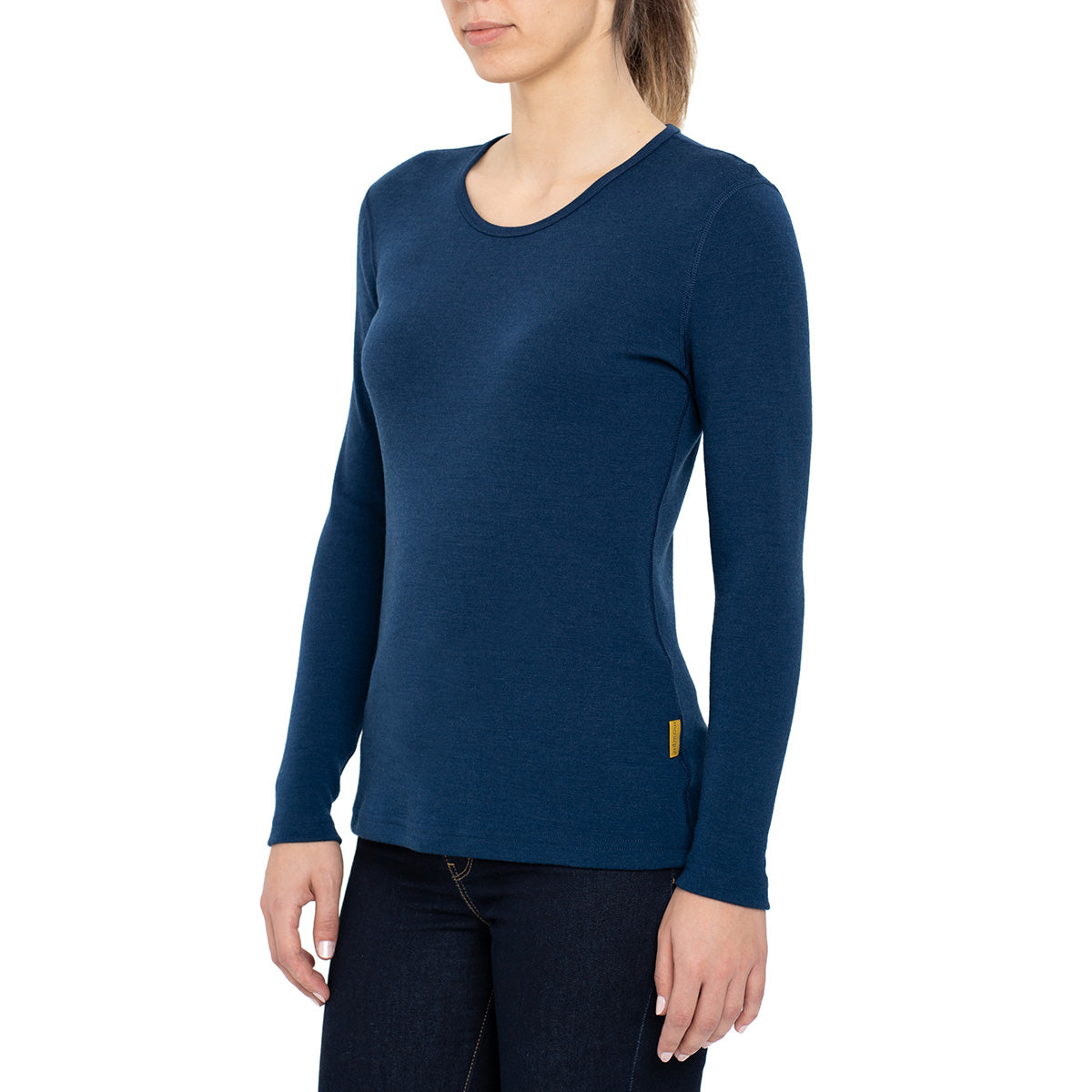 menique Women's Merino 250 Long Sleeve Crew Dark Blue Color