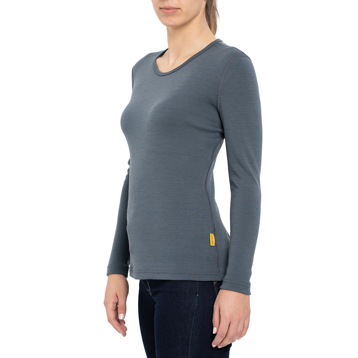 menique Women's Merino 250 Long Sleeve Crew Perfect Grey Color