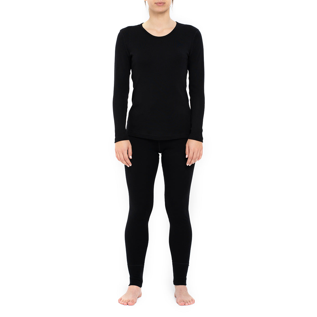 Women's Long Sleeve Set 250gsm Merino Wool Black