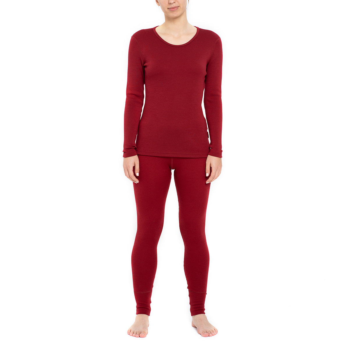 Women's Long Sleeve Set 250gsm Merino Wool Royal Cherry