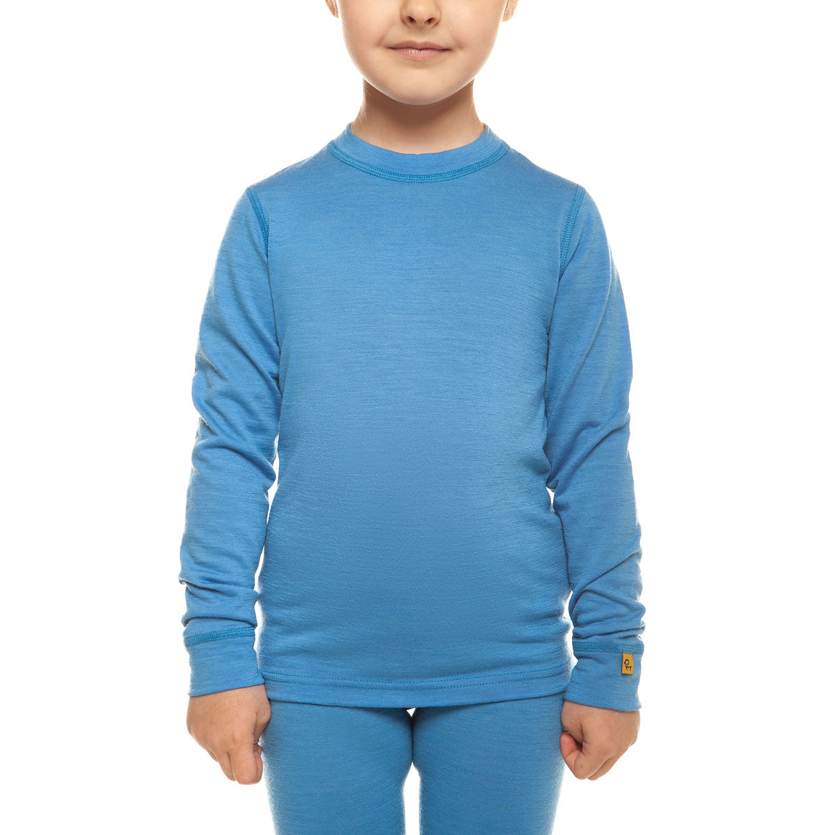 menique Kids' Merino 160 Long Sleeve Crew Light Blue Color