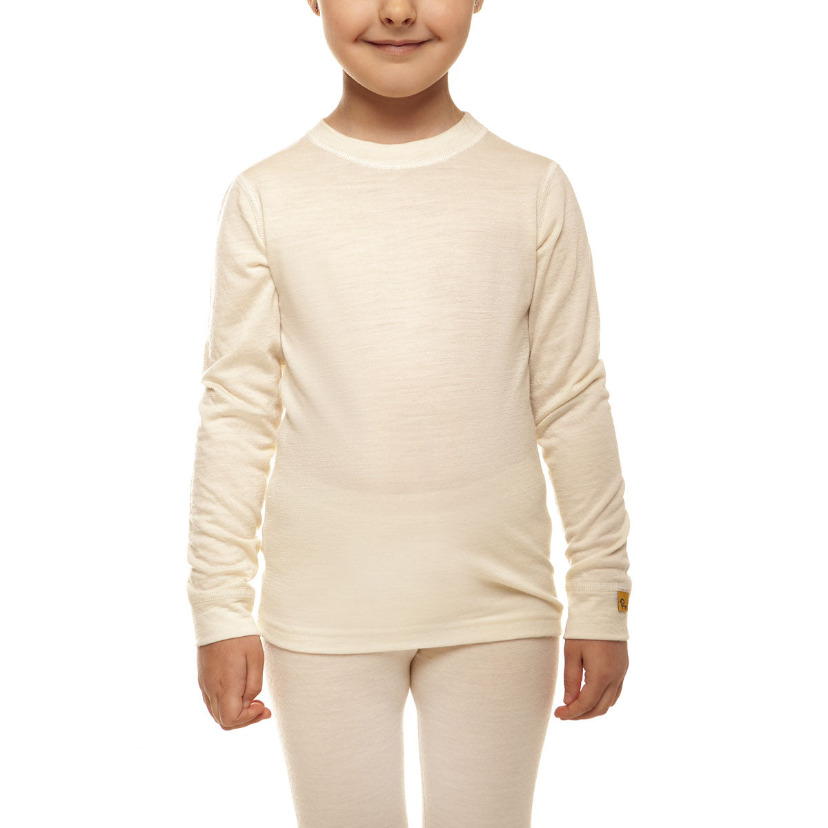 menique Kids' Merino 160 Long Sleeve Crew Natural Color