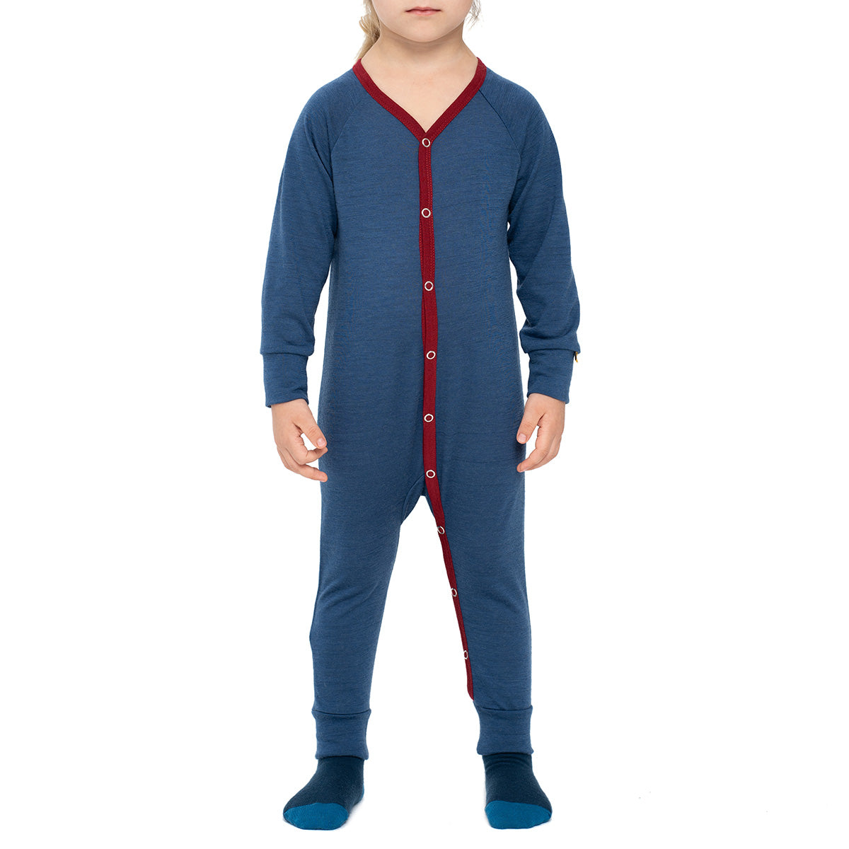 menique Kids' Merino 160 Romper Denim Color