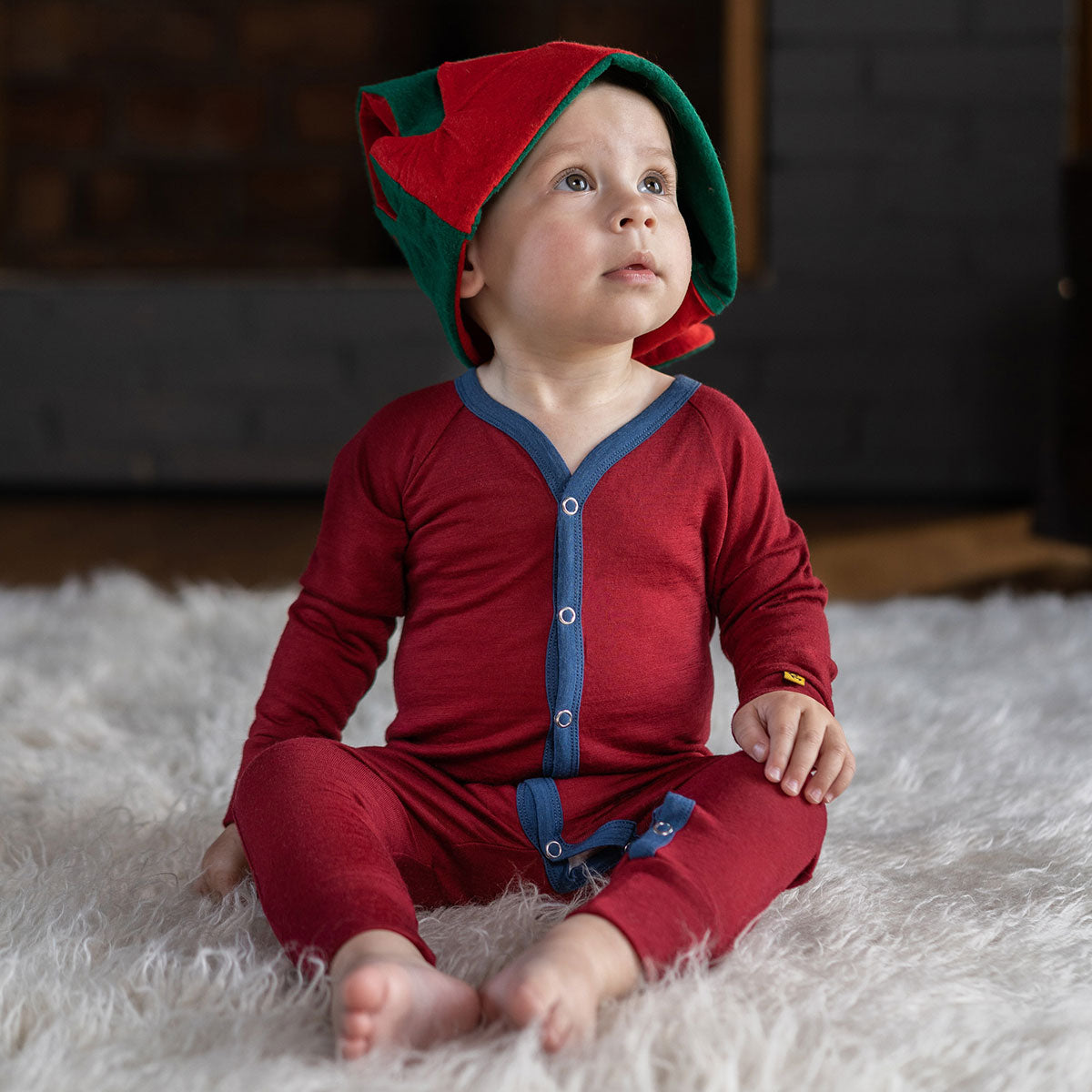 menique Kids' Merino 160 Romper Royal Cherry Red Christams Pajama