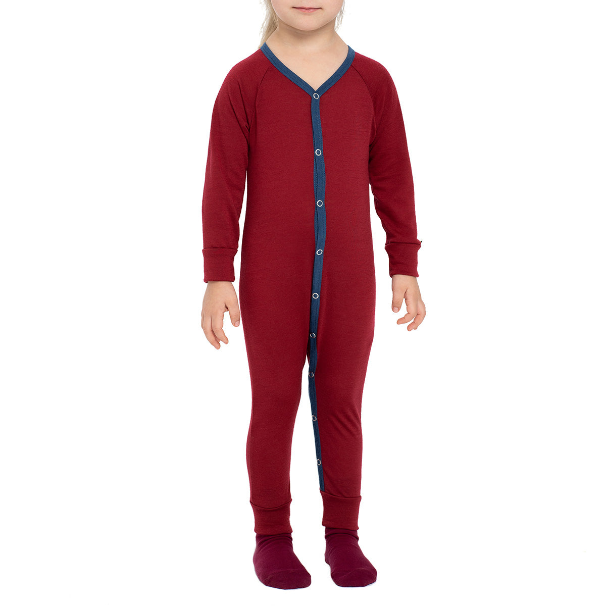 menique 	Kids' Merino 160 Romper Royal Cherry Color