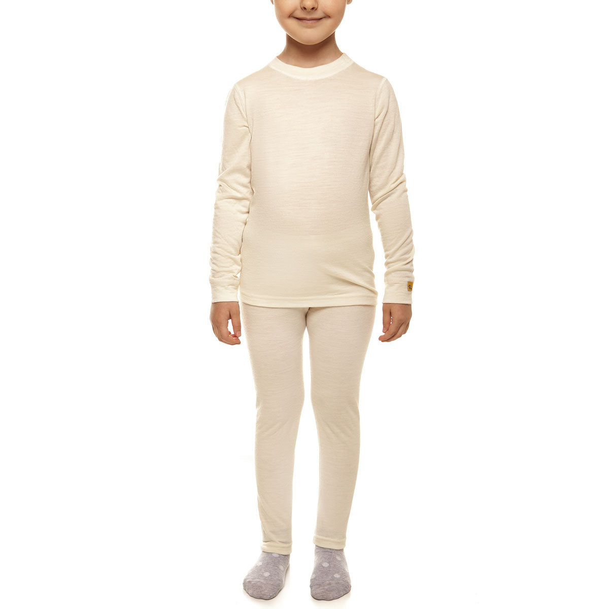 menique Kids' Merino 160 Long Sleeve Set Natural Color