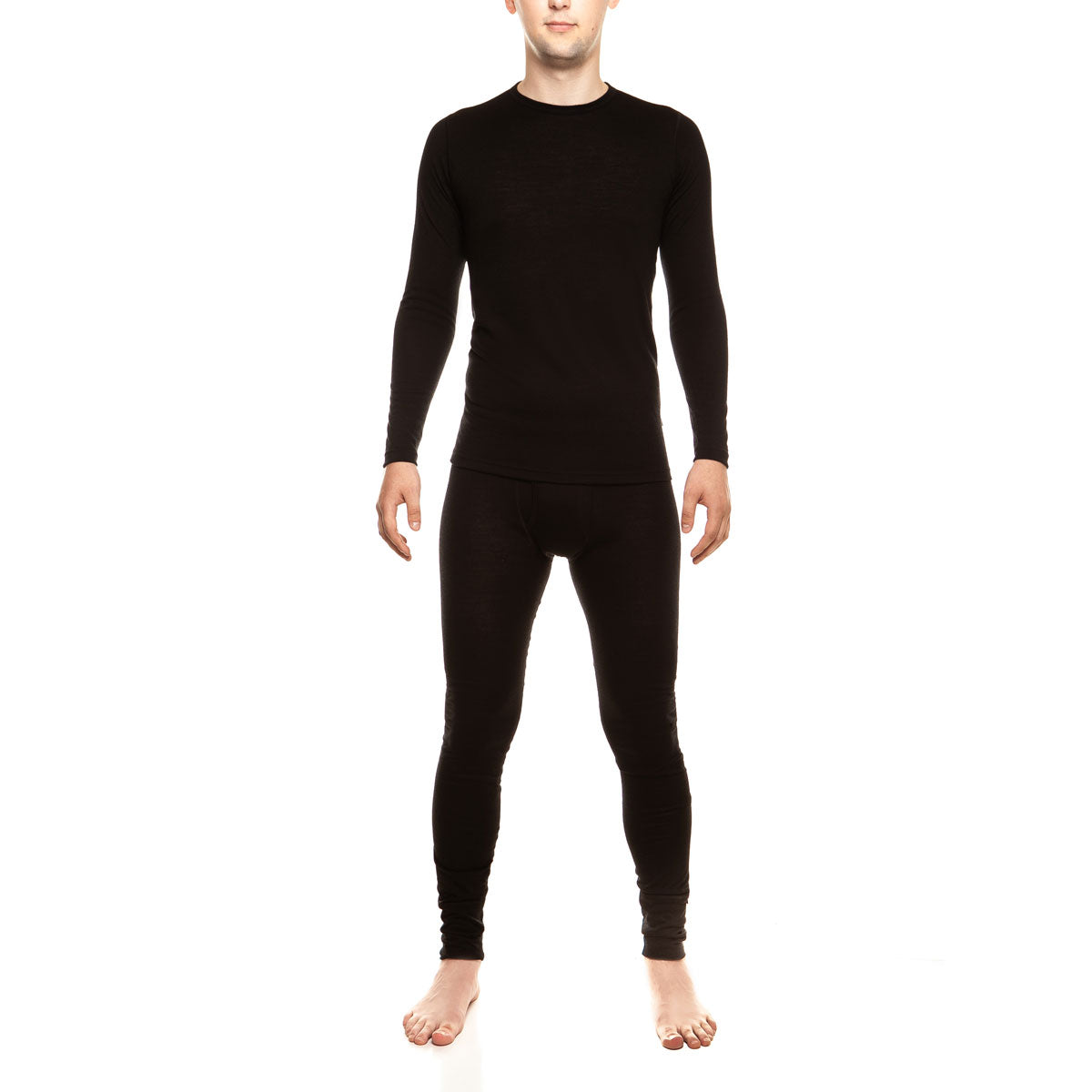 menique Men's Merino 160 Long Sleeve Set Black Color