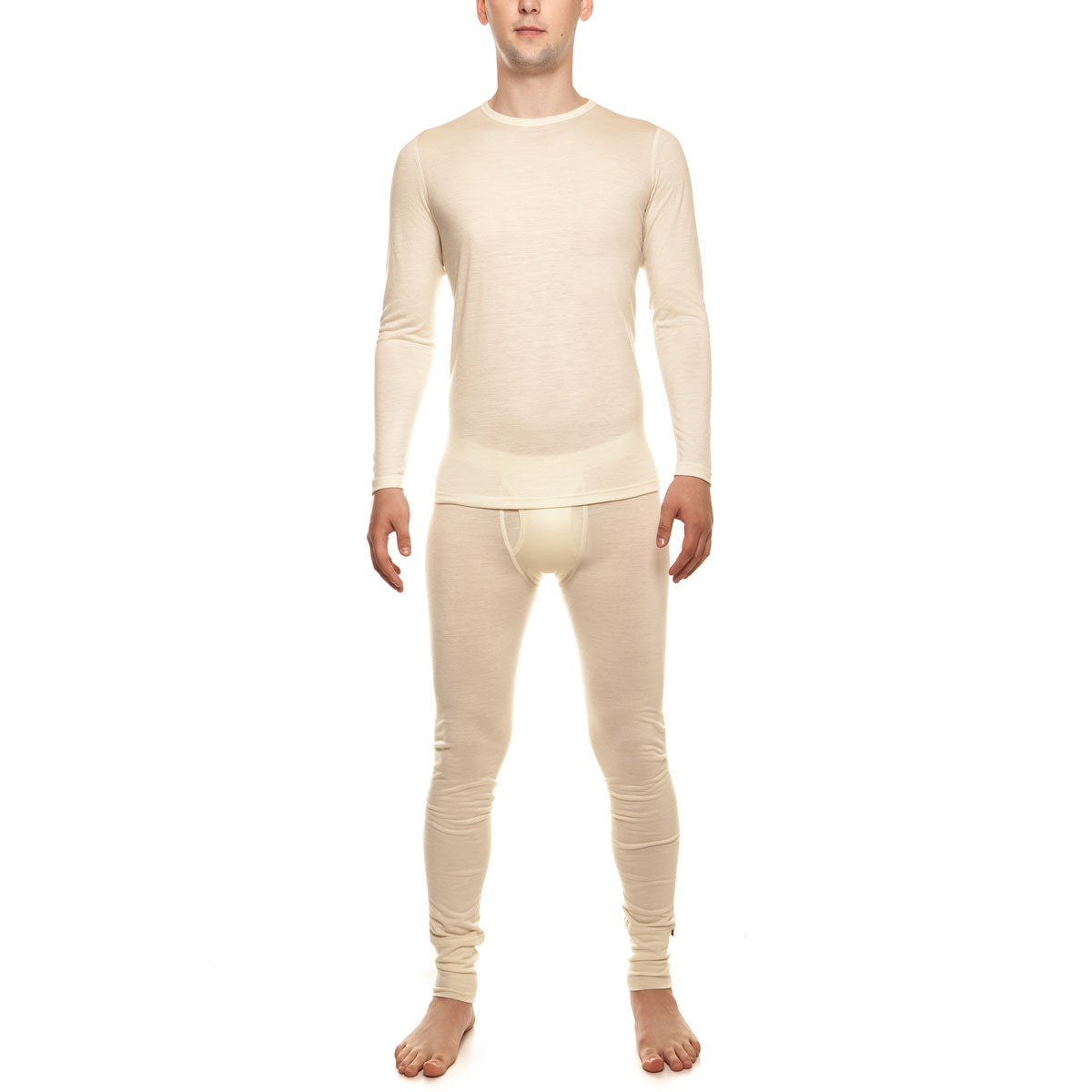 menique Men's Merino 160 Long Sleeve Set Natural Color