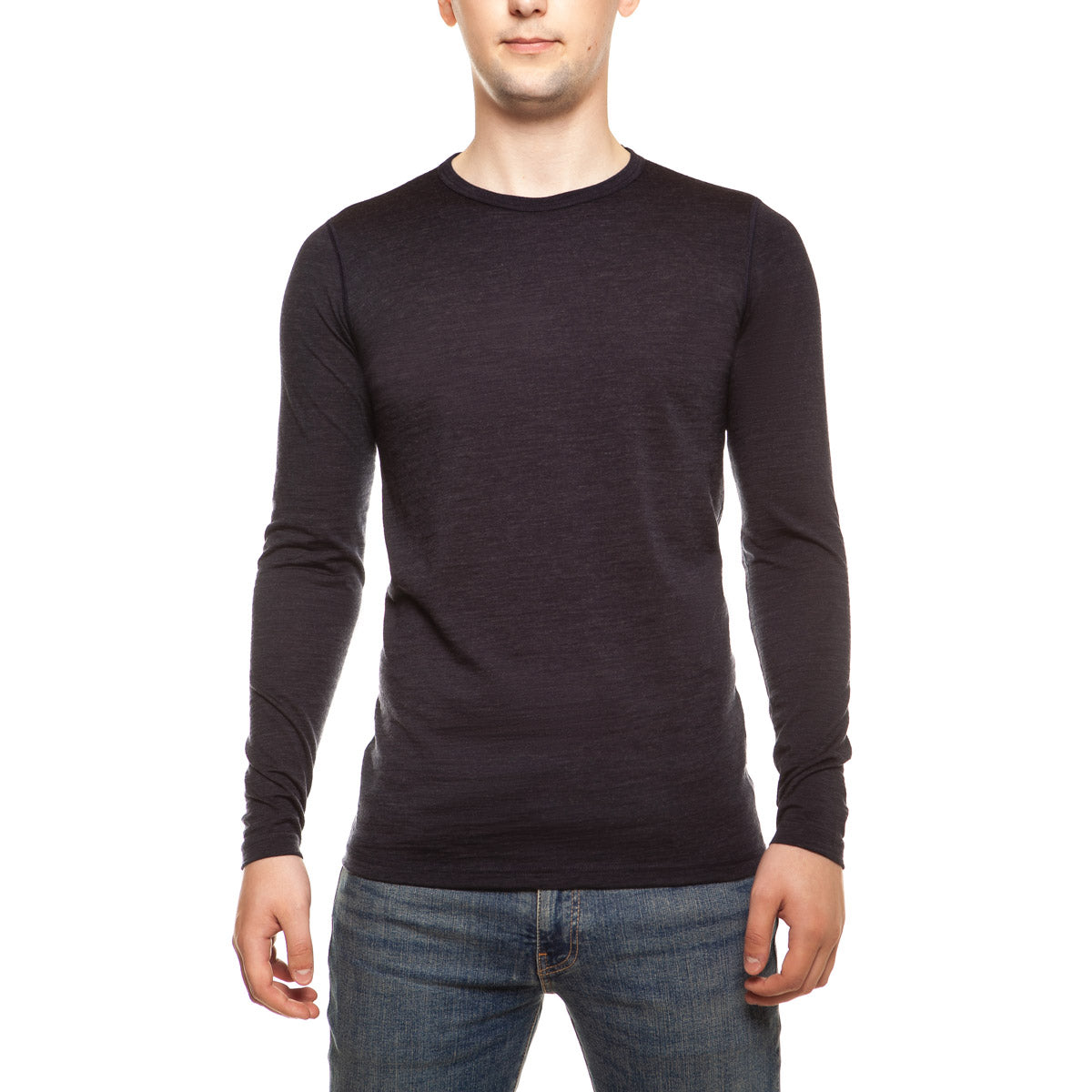 menique Men's Merino 160 Long Sleeve Crew Blue Melange Color