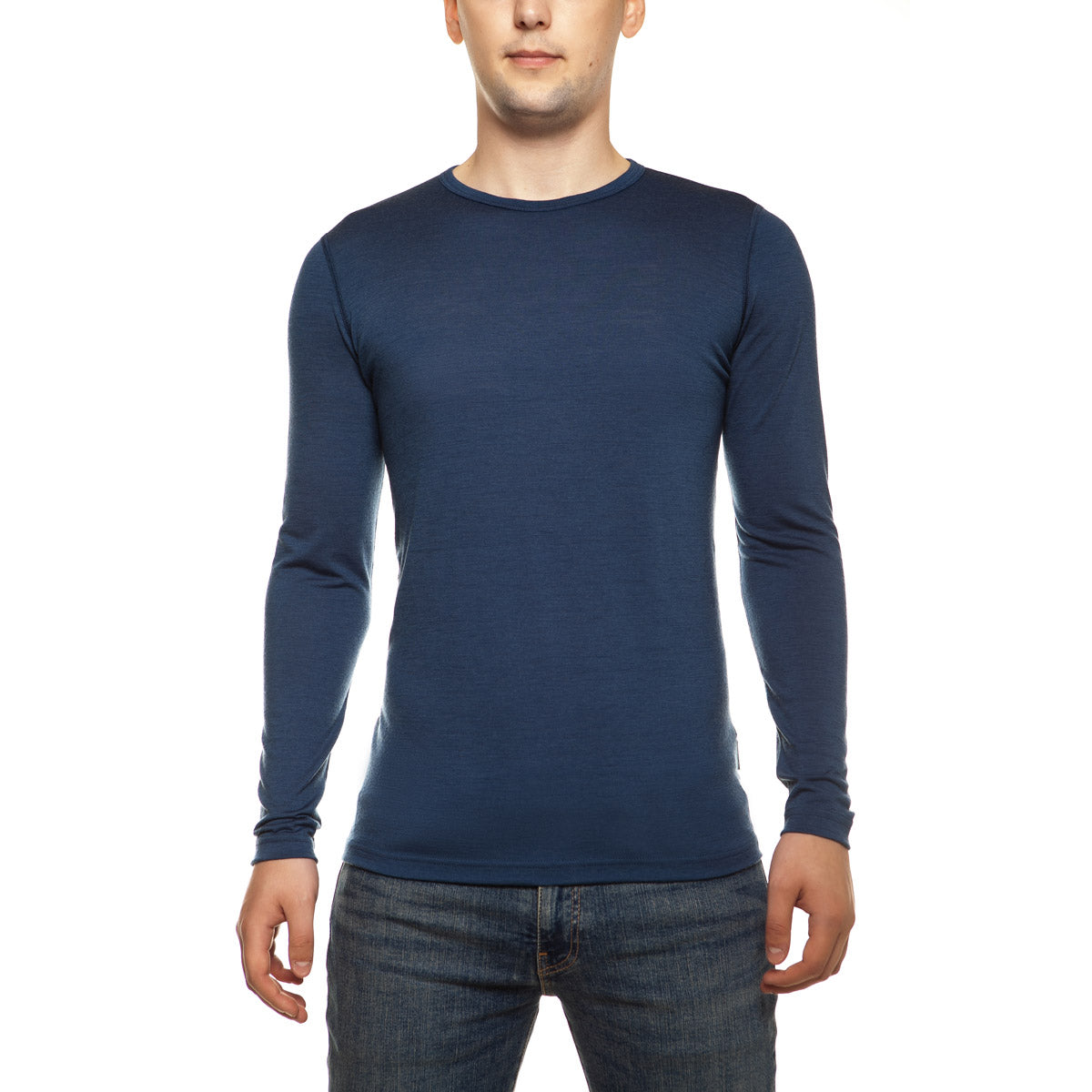 menique Men's Merino 160 Long Sleeve Crew Denim Color in nature