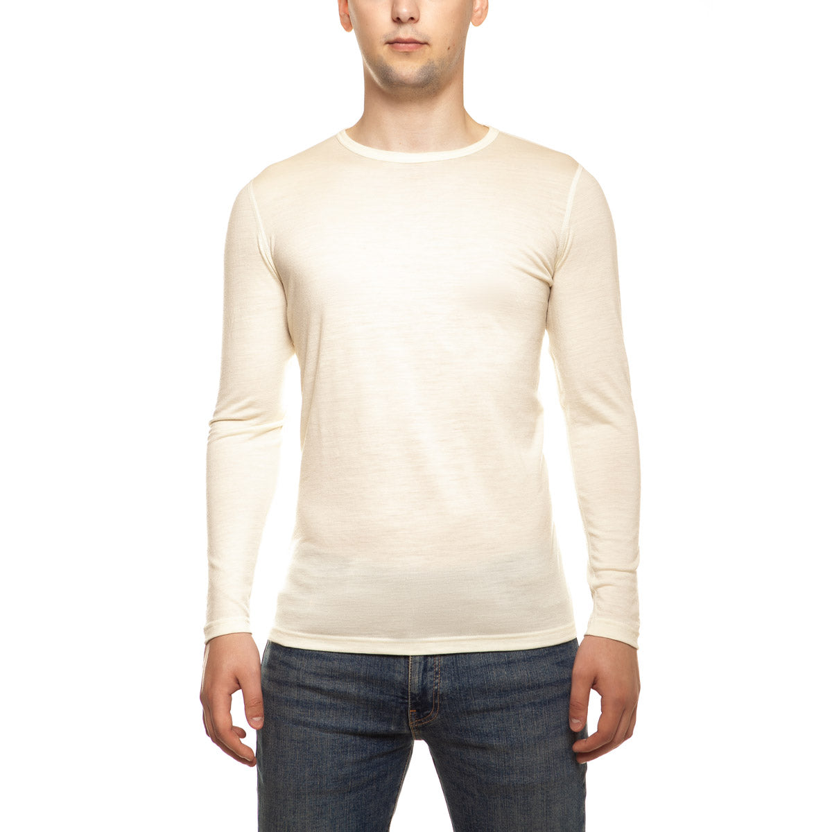 menique Men's Merino 160 Long Sleeve Crew Natural Color