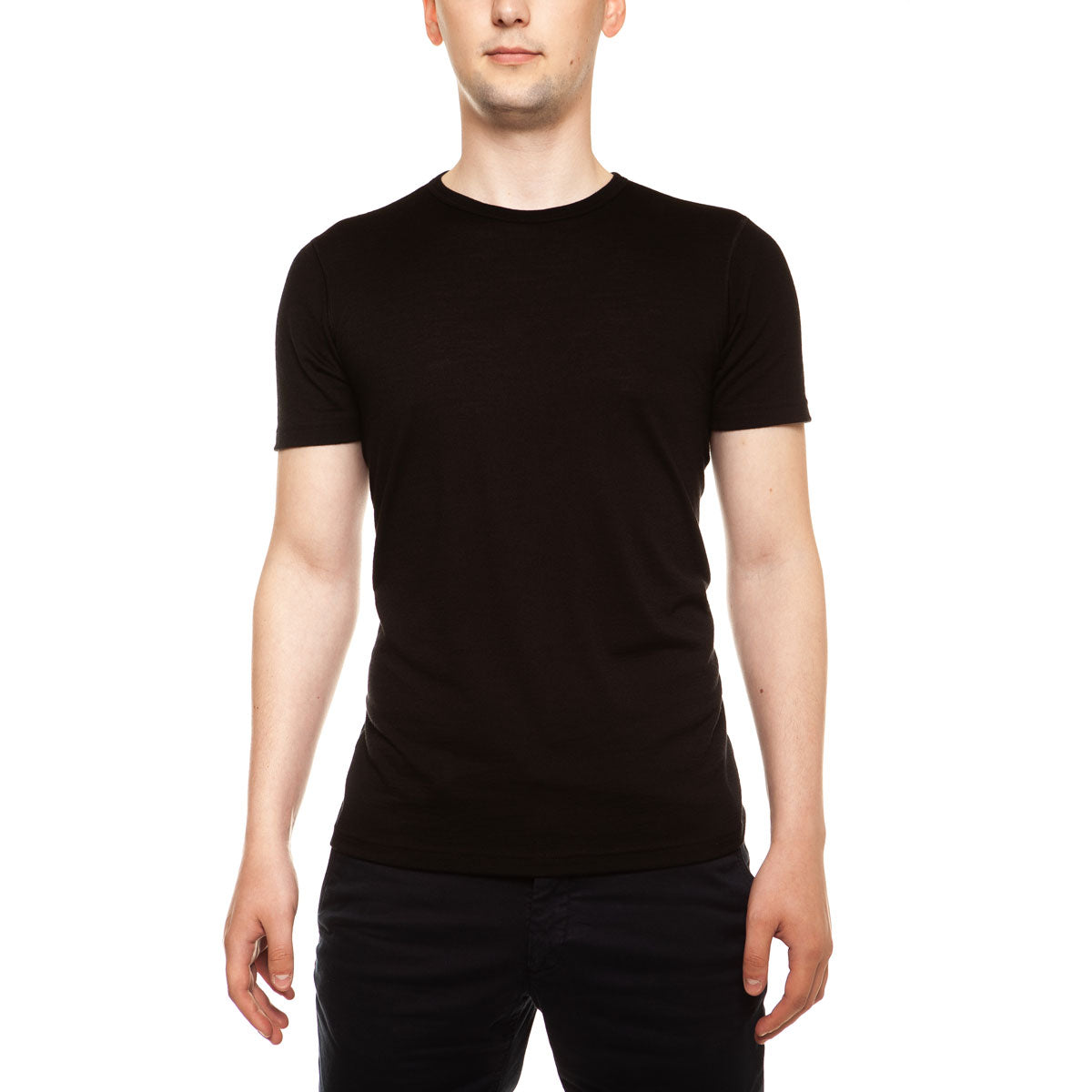 menique Men's Merino 160 Short Sleeve Crew Black Color