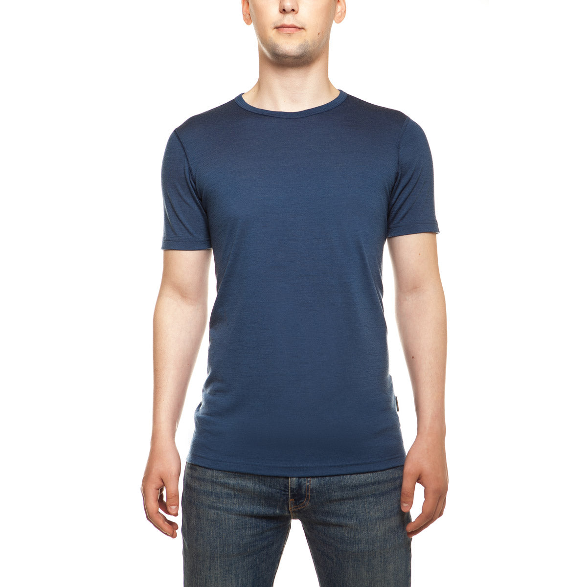 menique Men's Merino 160 Short Sleeve Crew Denim Color
