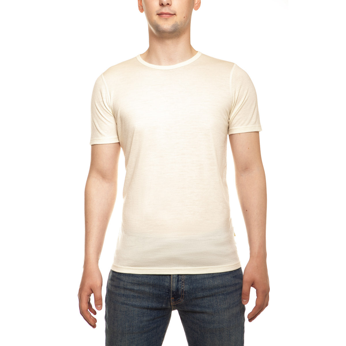 menique Men's Merino 160 Short Sleeve Crew Natural Color