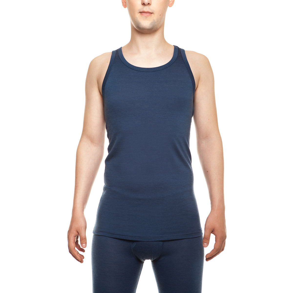 menique Men's Merino 160 Tank Top Denim Color in nature