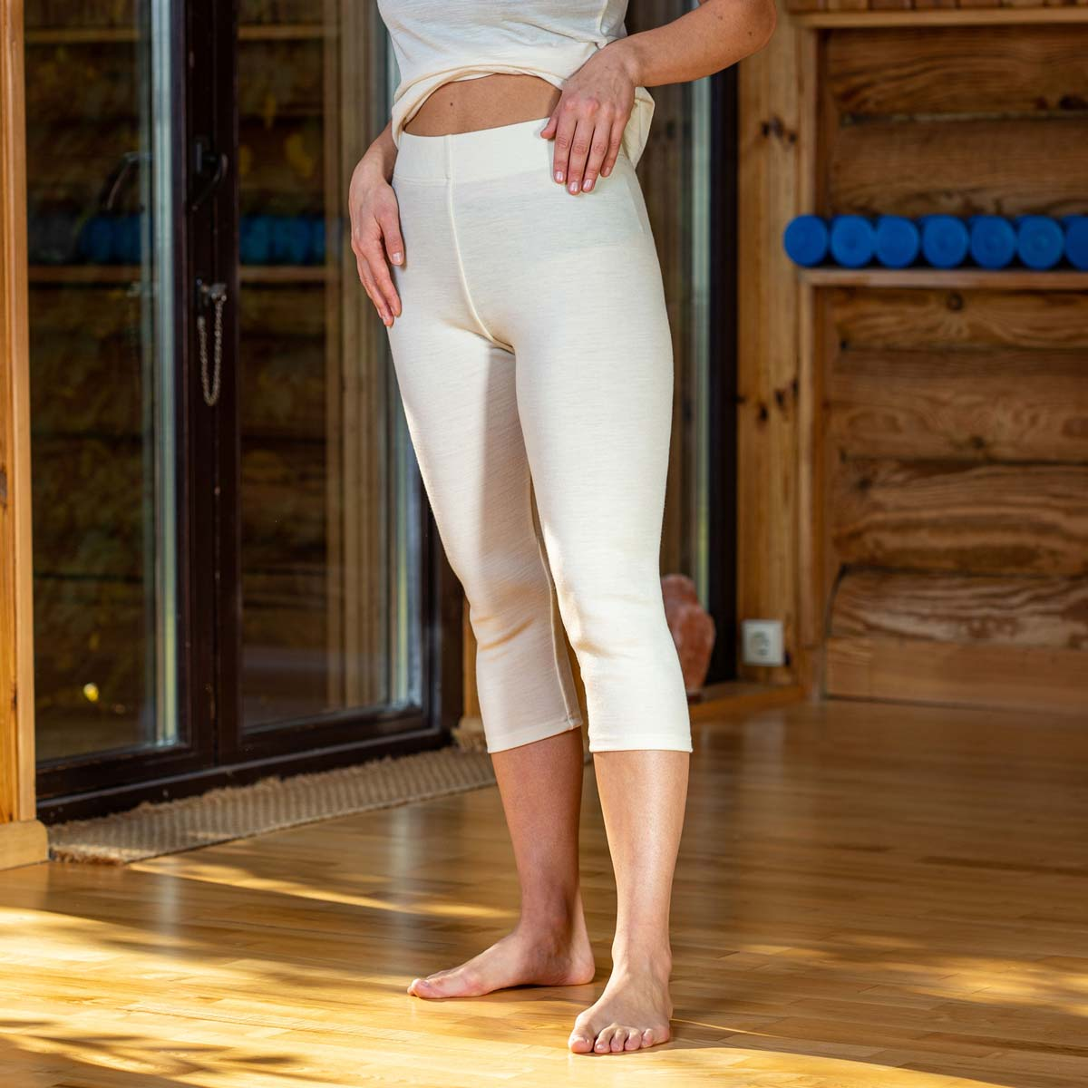 Women's Capri Leggings 250 Merino Natural