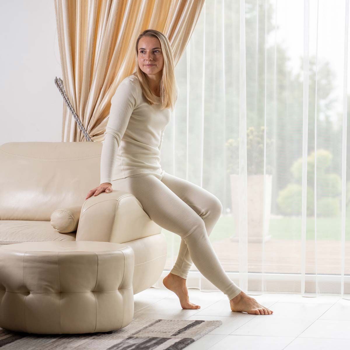 Women's Leggings Yoga 250 Merino Natural
