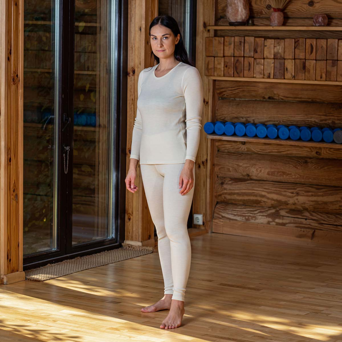 Women's Long sleeve and Leggings Set 250 Merino Natural