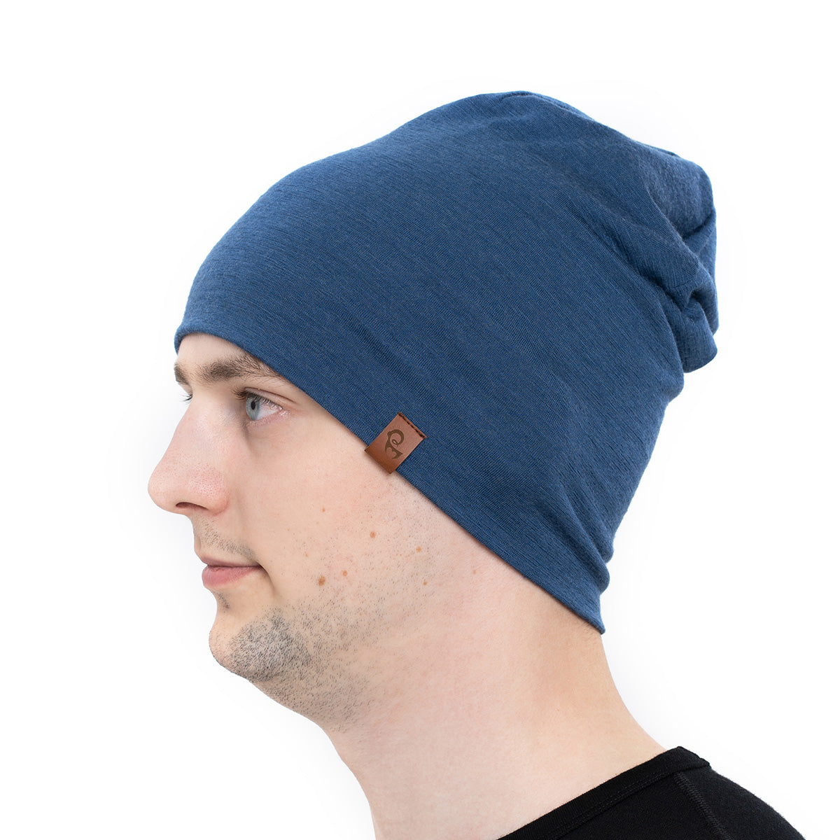 menique Men's Merino Beanie Hat Denim Color