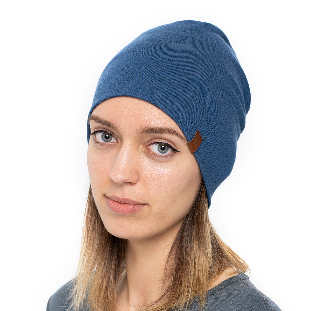 menique Women's Merino Beanie Hat Denim / Blue Color