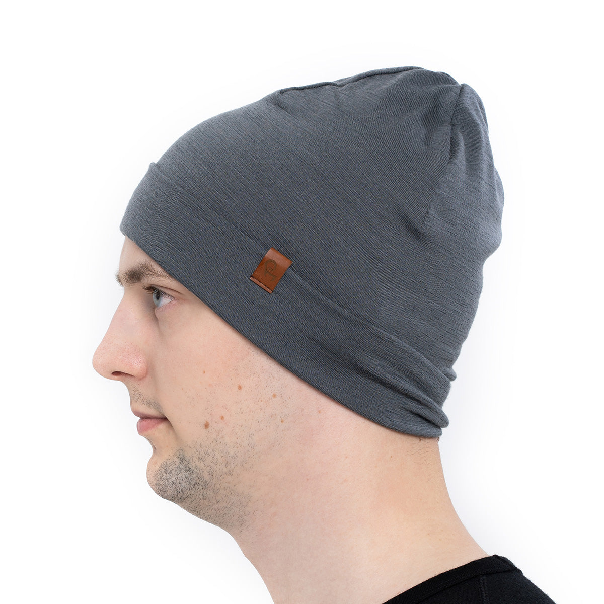 menique 	Men's Merino Beanie Hat Perfect Grey Color