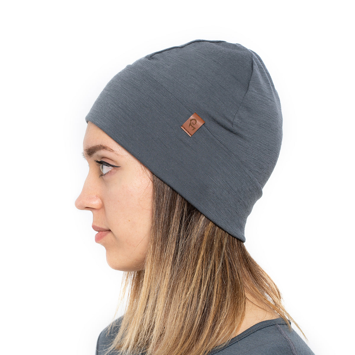 menique 	Women's Merino Beanie Hat Perfect Grey Color