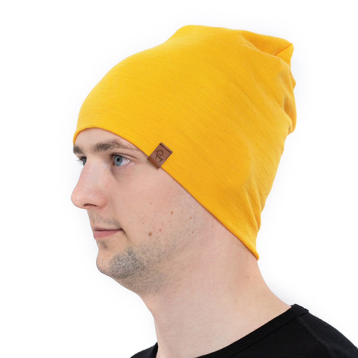 menique 	Men's Merino Beanie Hat Power Mango Color