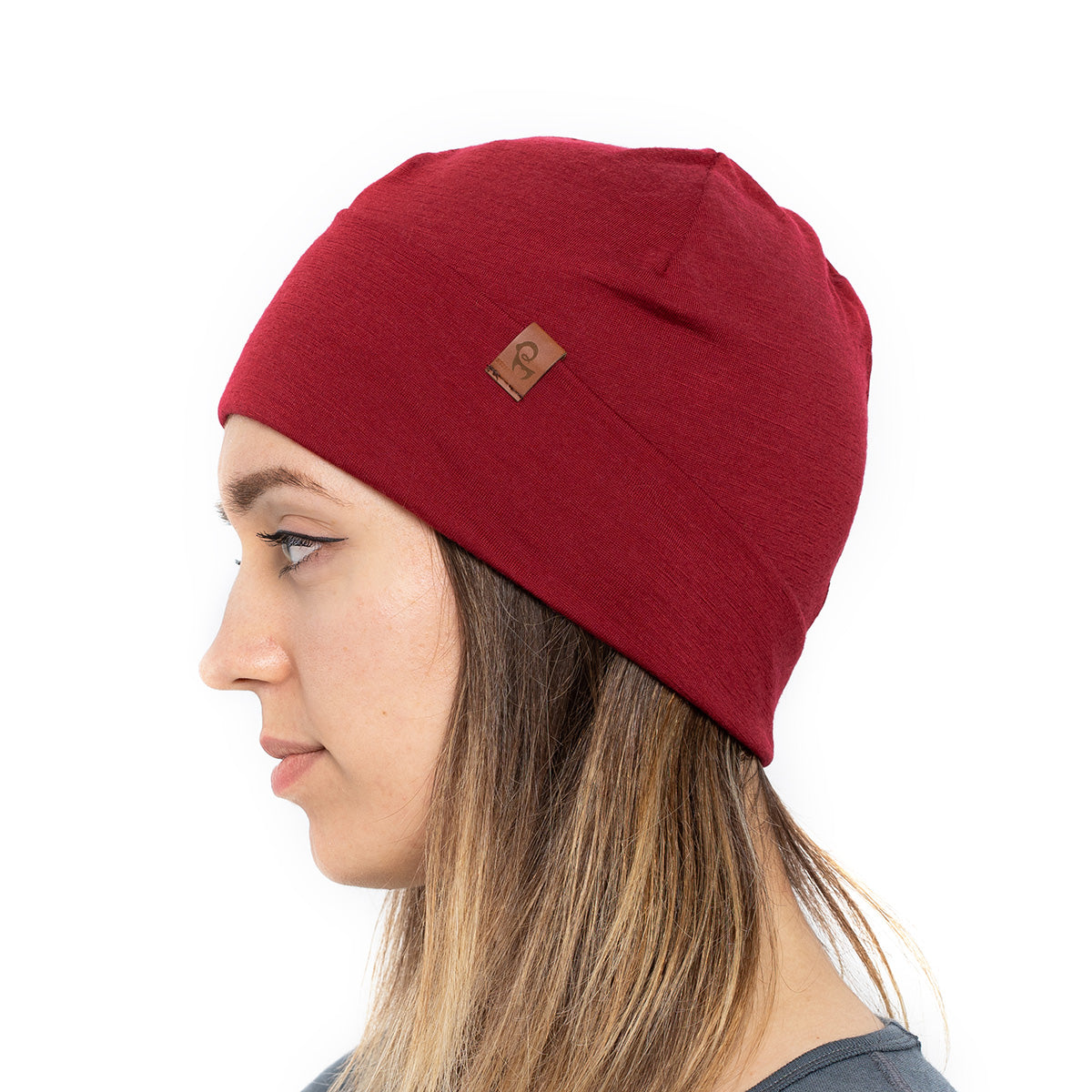 menique 	Women's Merino Beanie Hat Royal Cherry / Red Color