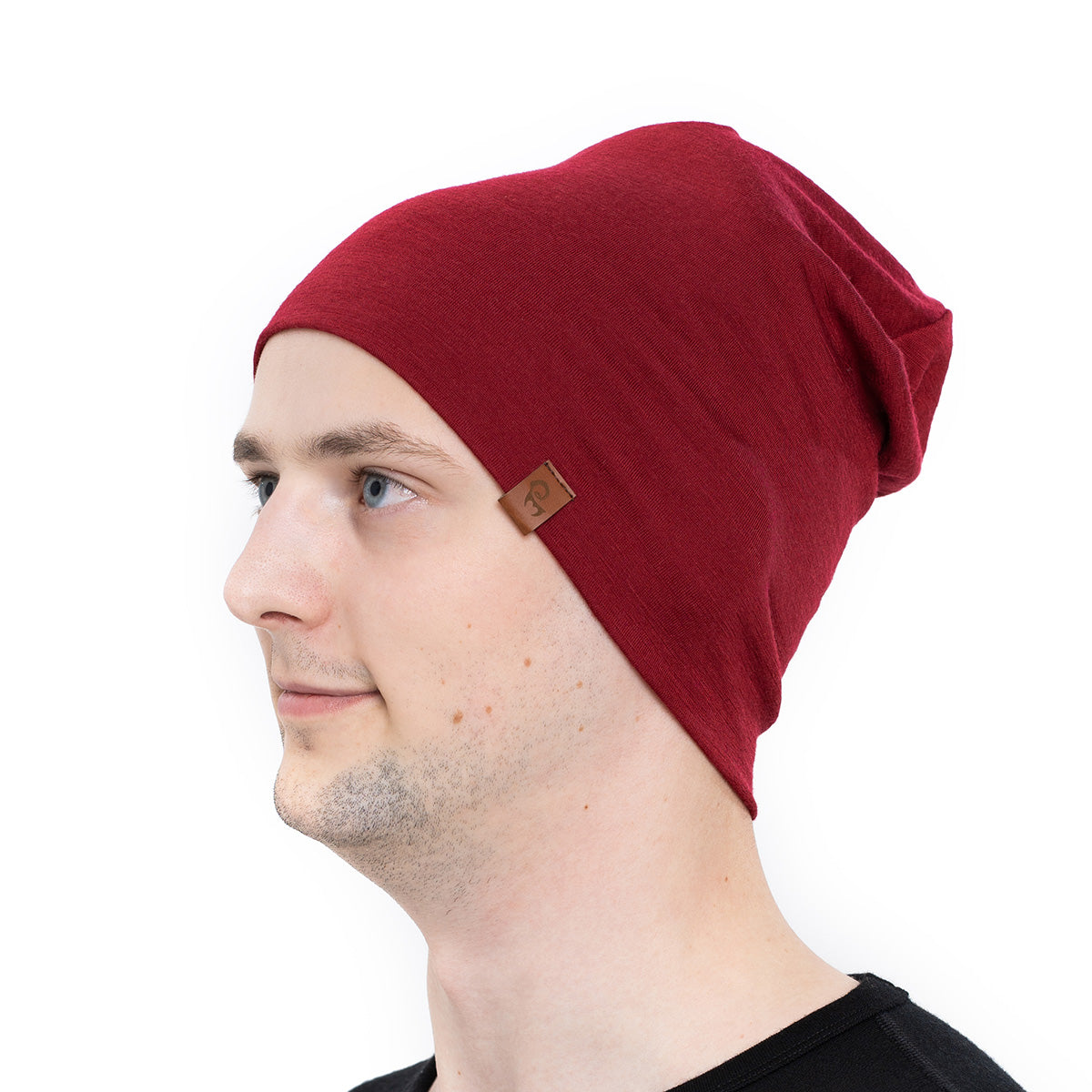 menique Men's Merino Beanie Hat Royal Cherry Color