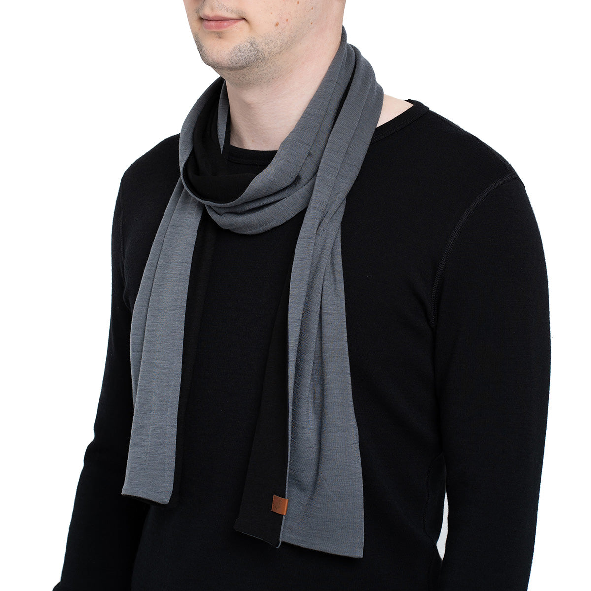 menique Men's Merino Scarf Black/Perfect Grey Color