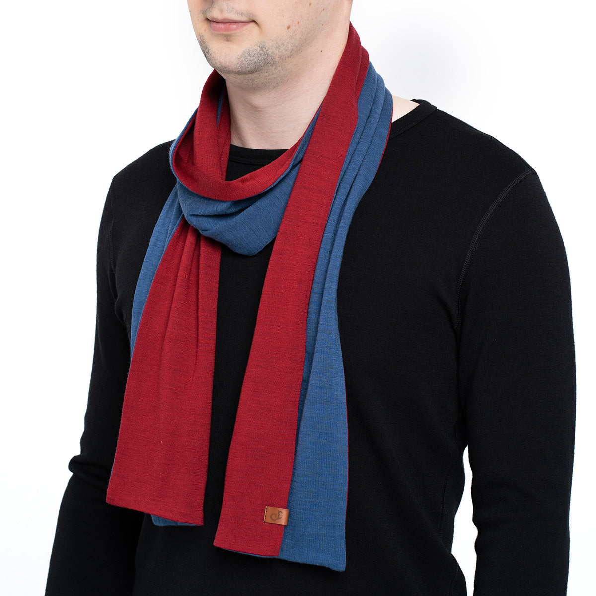 menique Men's Merino Scarf Denim/Royal Cherry Color