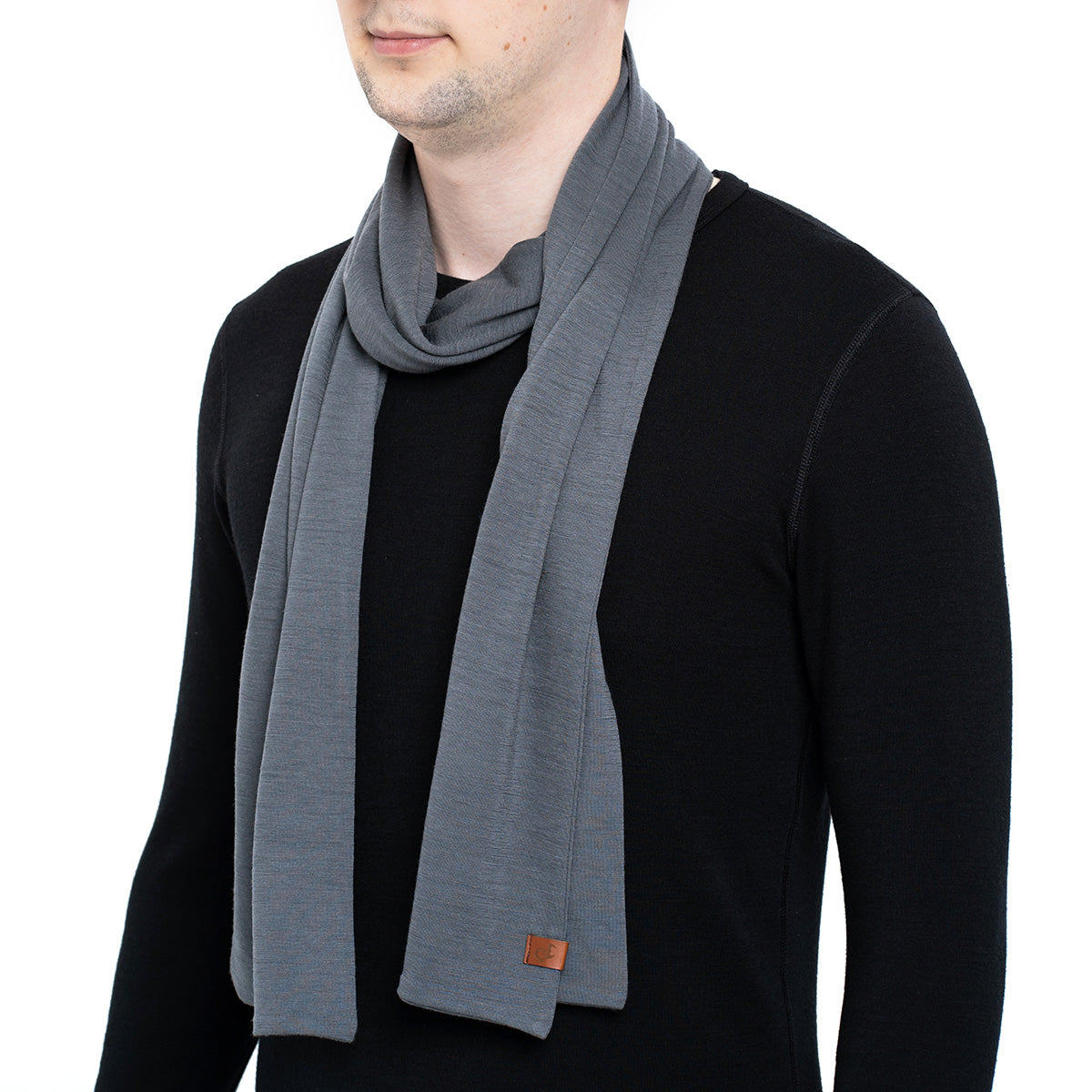 menique Men's Merino Scarf Perfect Grey Color