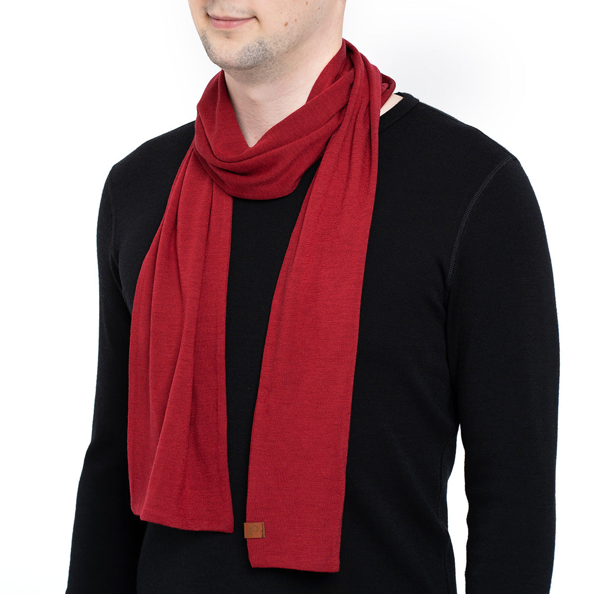 menique Men's Merino Scarf Royal Cherry Color