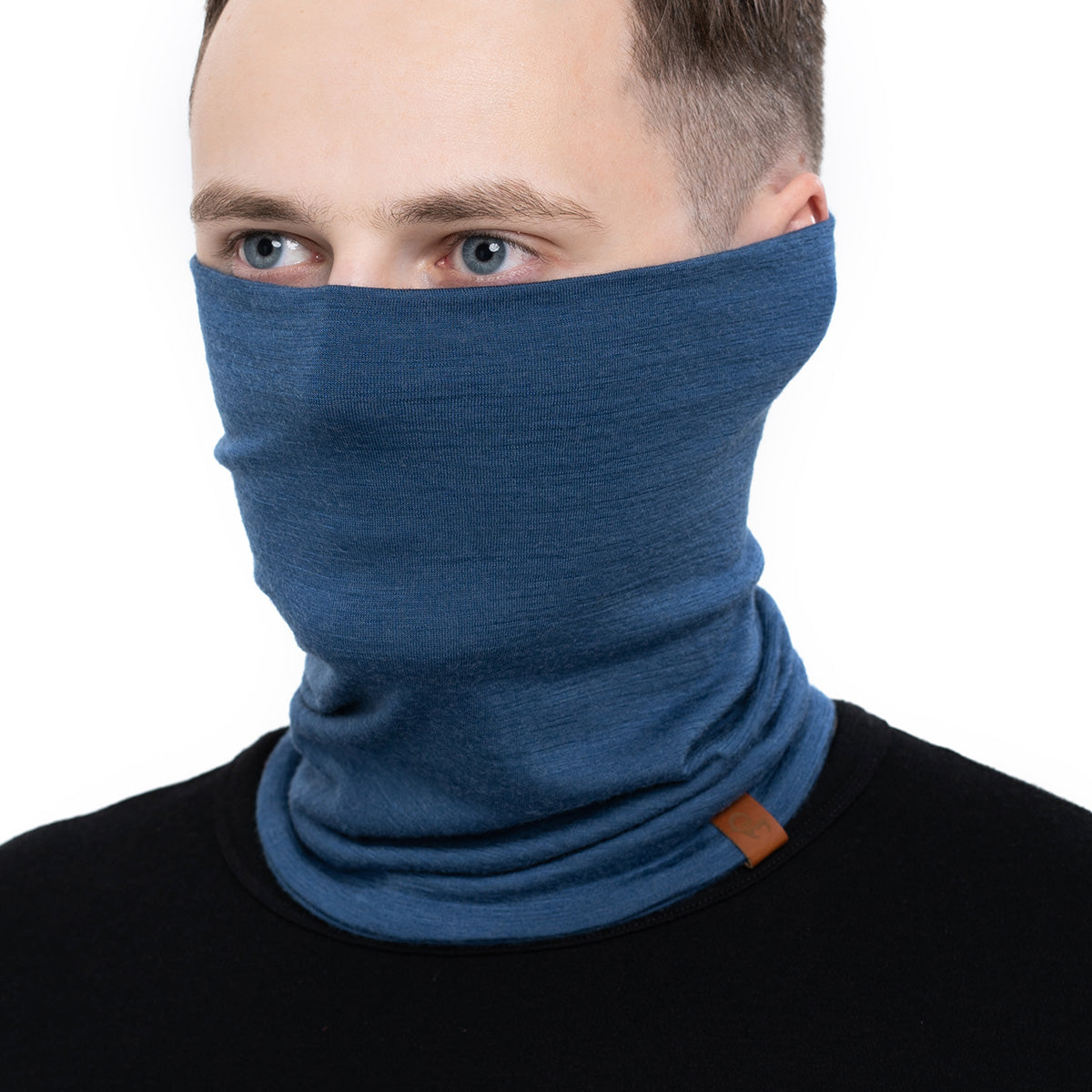 menique Men's Merino Neck Gaiter Denim Color