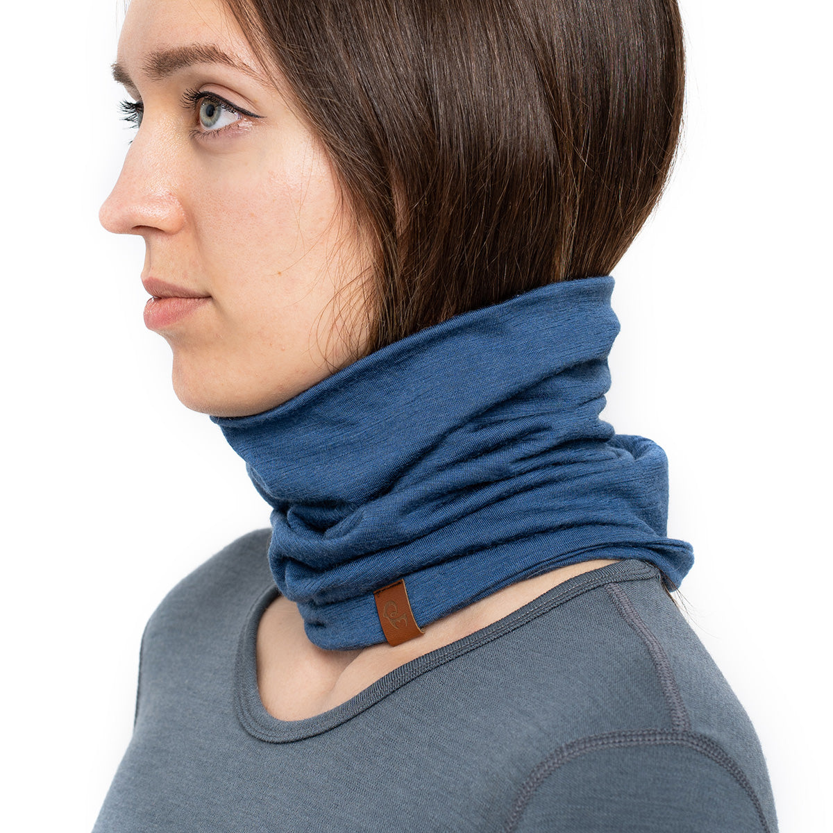 menique Women's Merino Neck Gaiter Denim Color