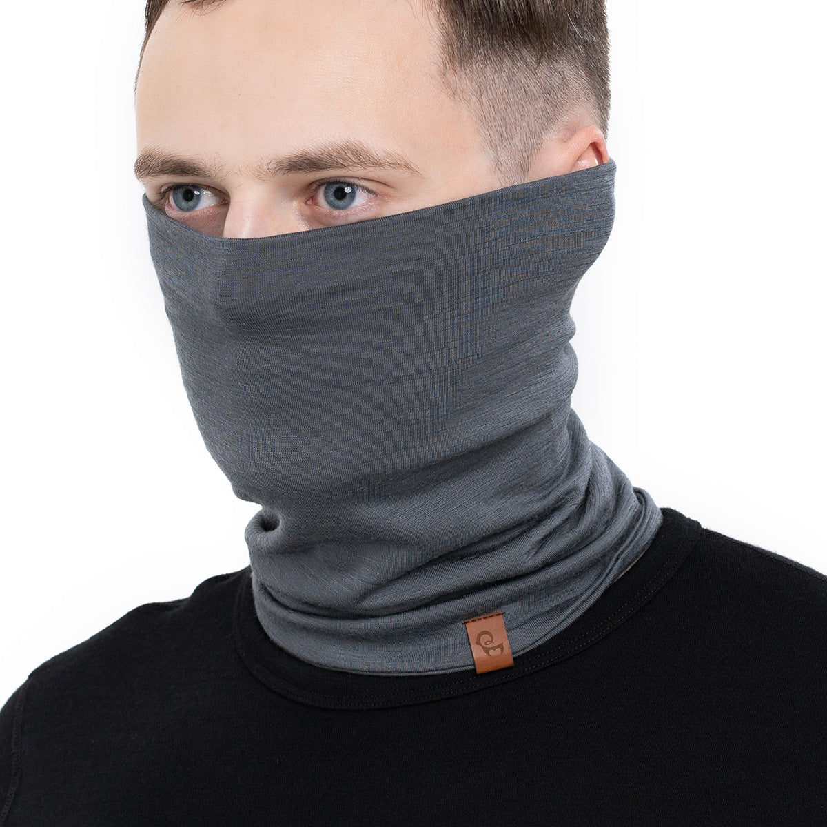 menique Men's Merino Neck Gaiter Perfect Grey Color