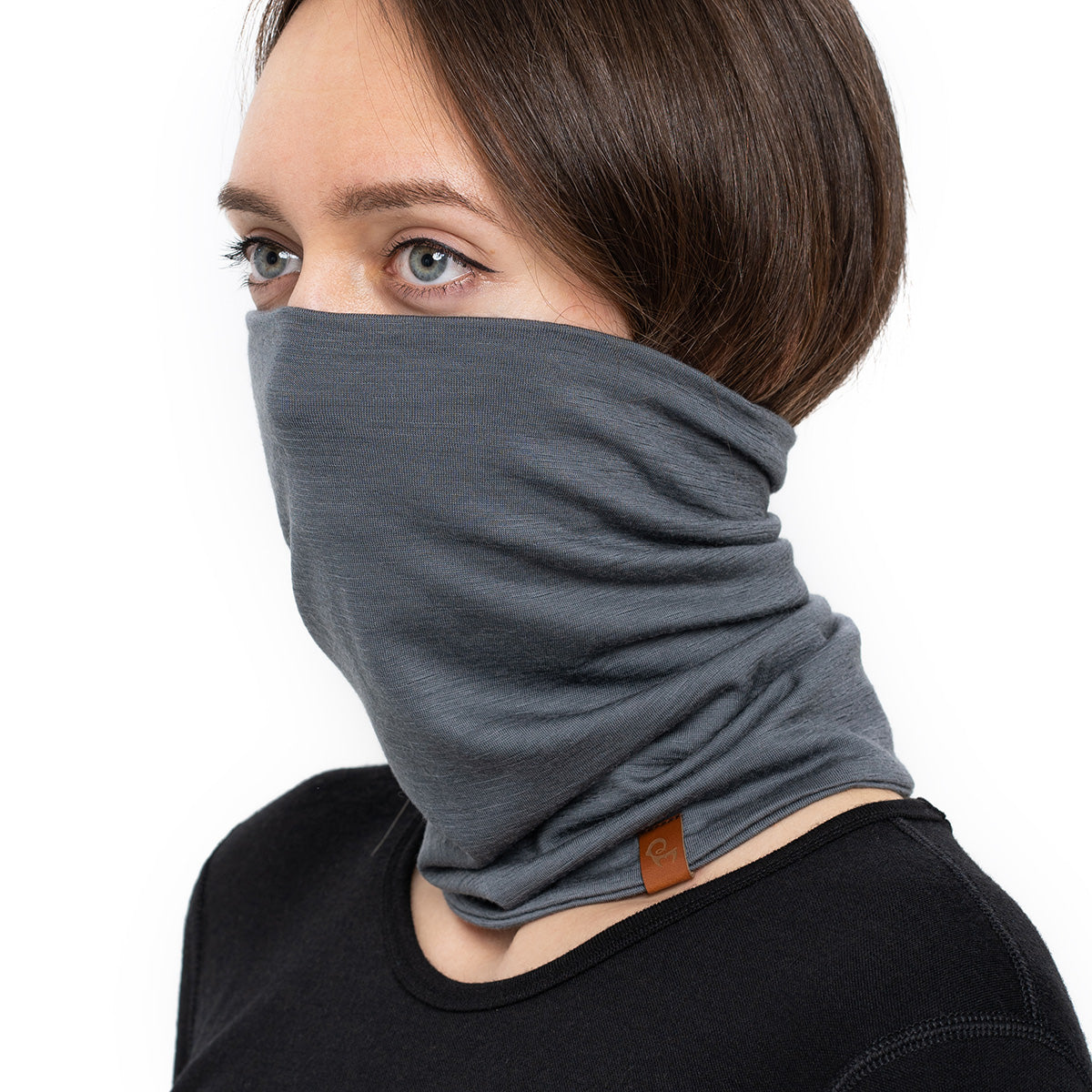 menique Women's Merino Neck Gaiter Perfect Grey Color