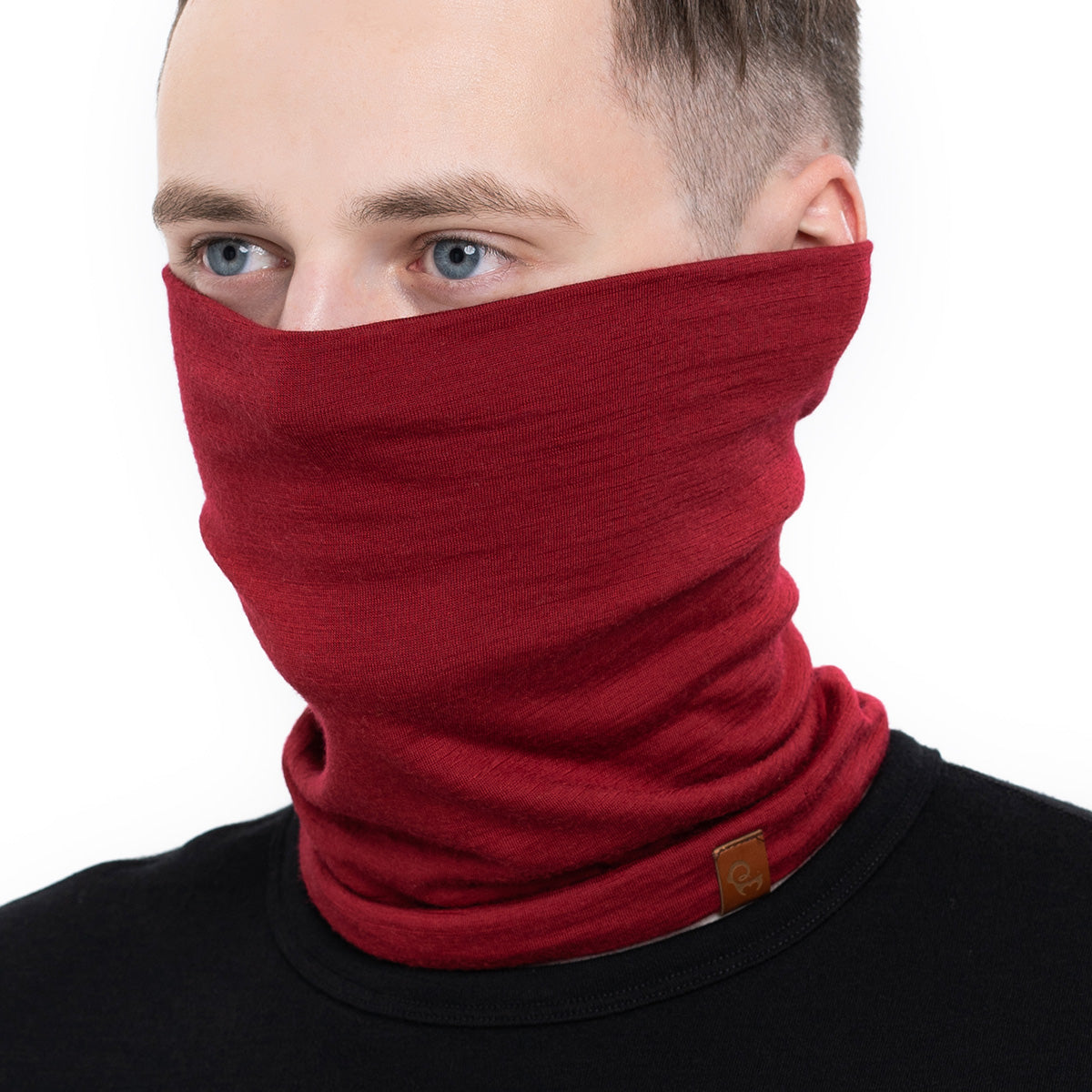 menique Men's Merino Neck Gaiter Royal Cherry Color