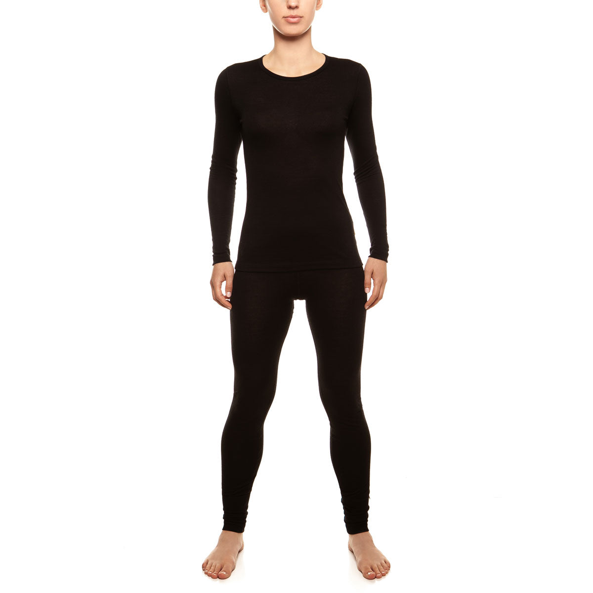 menique Women's Merino 160 Long Sleeve Set Black Color